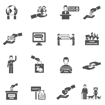 Charity black white icons set with donations symbols flat isolated vector illustration