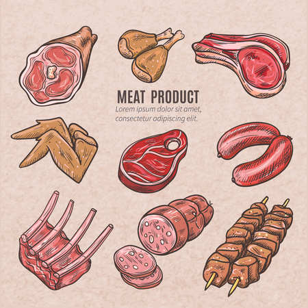 fillet: Meat products color sketches set in vintage style with skewers pork ribs chicken wings steaks and sausages vector isolated illustration Illustration