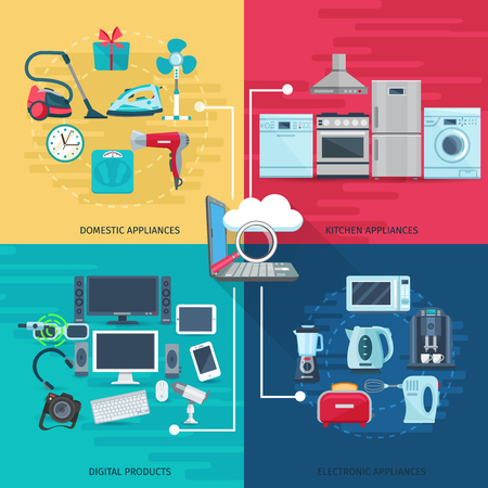 Household icons concept set of domestic appliances kitchen equipment and digital products square composition flat vector illustration Иллюстрация