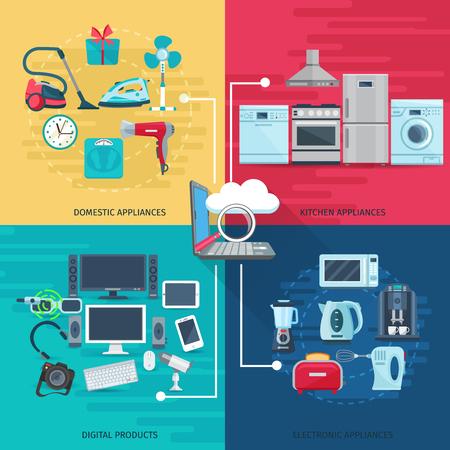 équipement: Ménages icônes notion ensemble d'équipements électroménagers de la cuisine domestique et produits numériques composition carrée vecteur plat illustration Illustration