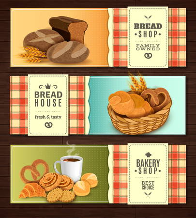 nostalgic: Vintage country style nostalgic bread house 3 flat horizontal banners set with cookies basket isolated vector illustration