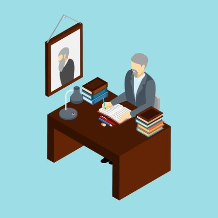 book background: Professional historian at work in his office concept isometric banner with scientific research attributes abstract vector illustration