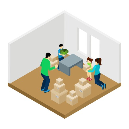 family living room: Family moving in with new furniture parents and children isometric vector illustration