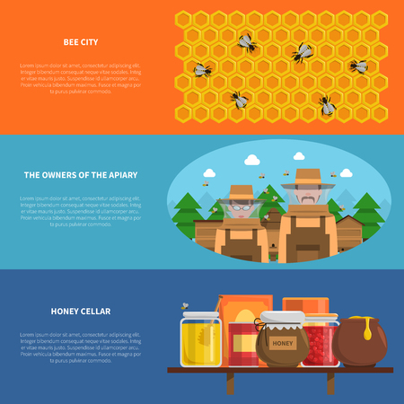 flower market: Honey horizontal banners set with bee city and honey cellar symbols flat isolated vector illustration