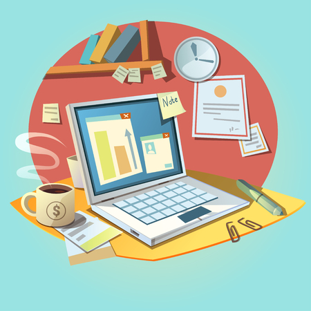 pen cartoon: Business concept with retro cartoon style office workplace and working items vector illustration