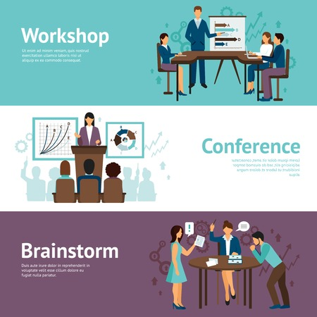 human development: Horizontal banners set of scenes presenting business workshop conference and brainstorm flat vector illustration