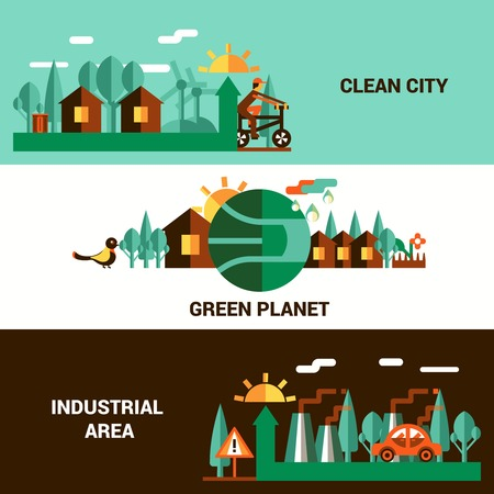 sun energy: Flat vector horizontal banners on theme ecology with illustration of clean city green planet and industrial area Illustration
