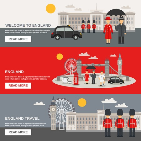 bus anglais: English culture traditions weather and landmarks for travelers information online 3 flat interactive banners set isolated vector illustration