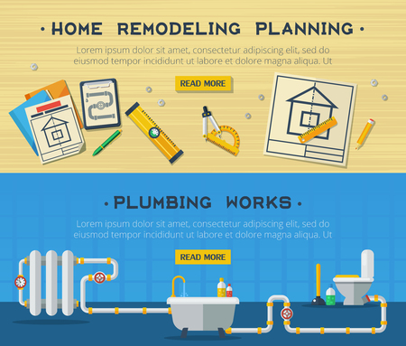pipeline: Home remodeling plumbing and sanitary installation service interactive webpage design 2 flat horizontal banners vector isolated illustration