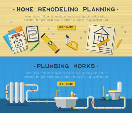 Huis verbouwen sanitair en sanitaire installatie service interactieve webpagina design 2 vlakke horizontale banners vector geïsoleerde illustratie