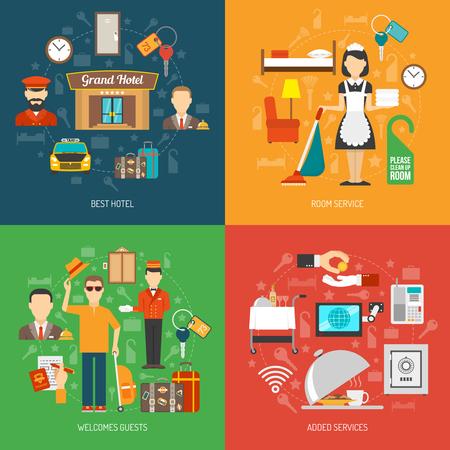 recepcion: Hotel de diseño de principio que se establece con la ilustración vectorial iconos planos de servicio de habitación aislada