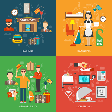 the maid: Hotel design concept set with room service flat icons isolated vector illustration