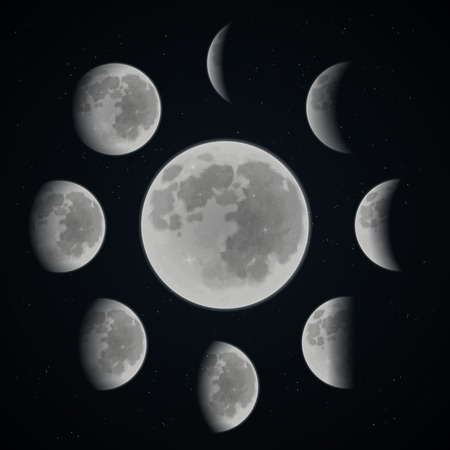 Moon phases set on dark space background with stars realistic vector illustration Stock Illustratie