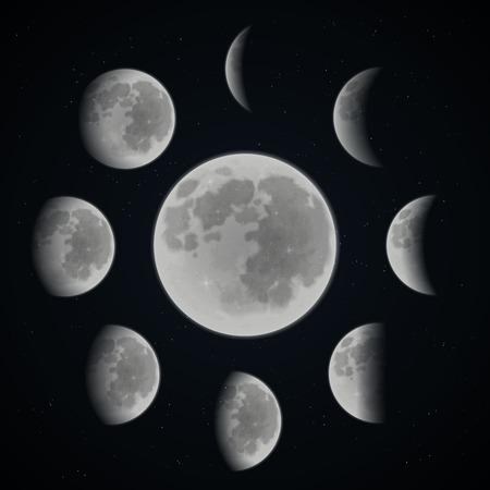 noche y luna: Fases de la luna establecidos en el fondo espacio oscuro con estrellas Ilustración vectorial