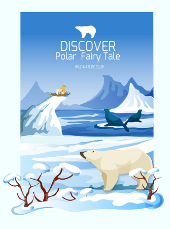 icy: Northern wildlife landscape poster with polar bear and icy mountain range peaks background print abstract vector illustration