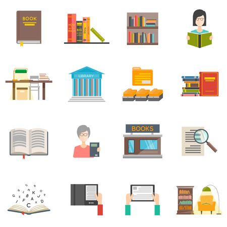 books library: Library icons set with flat books and e-books isolated vector illustration
