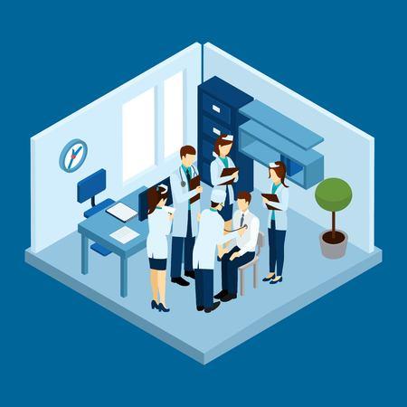 Concetto medico clinica personale con i medici e gli infermieri isometrico sagome illustrazione vettoriale Vettoriali