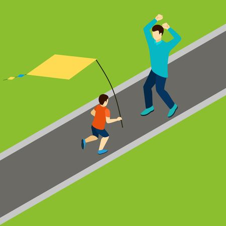 family playing: Family playing with kite with father and son isometric vector illustration
