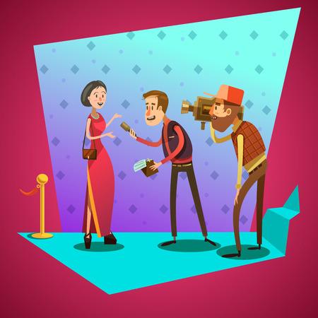 celebrities: Journalist interviews star on celevrity event retro cartoon vector illustration