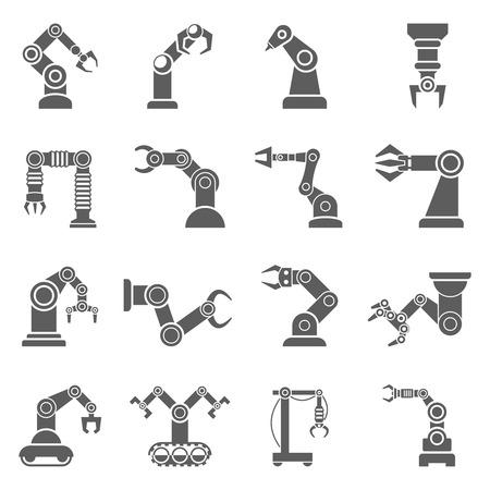 Varios brazos robóticos para manipular objetos a una colección de iconos negros distancia resumen ilustración vectorial aislado Ilustración de vector