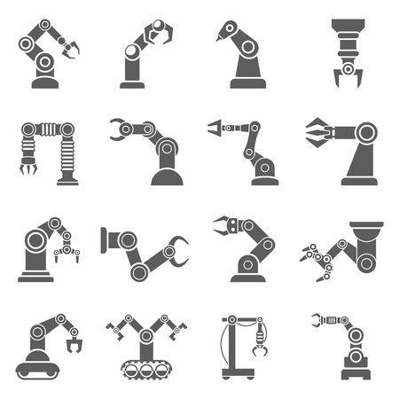 Various robotic arms to manipulate objects at a distance black icons collection abstract isolated vector illustration Vektorové ilustrace