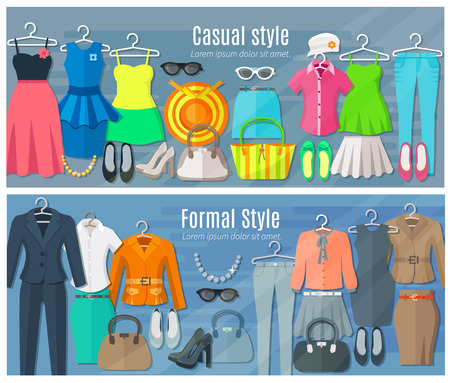 casual fashion: Woman clothes horizontal banners set of collection in formal and casual fashion styles vector illustration