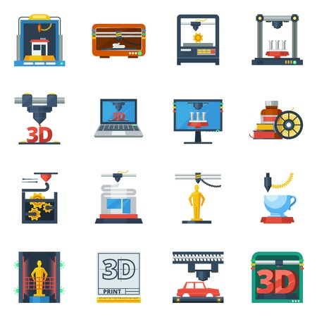 prototypes: Innovative technologies 3d printing industry service flat icons collection for creating prototypes models abstract isolated vector illustration Illustration