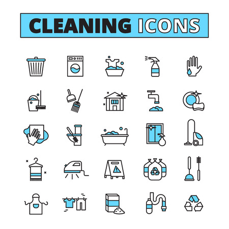 hand set: Cleaning hand drawn icon set of household appliances cleaners and detergents isolated vector illustration Illustration