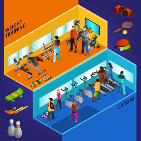 weight training: Sports equipment cardio and weight training with athletes isometric compositions vector illustration Illustration