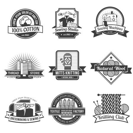 dressmaking: Textile black emblem set with dressmaking and knitting symbols isolated vector illustration Illustration