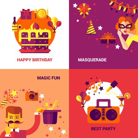 social event: Party design concept set of birthday masquerade and magic fun icons vector illustration