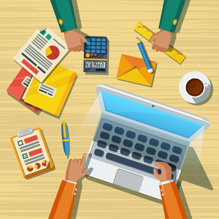 company background: Business team meeting working moment with notepad tablet computer and long hands flat poster abstract vector illustration Illustration