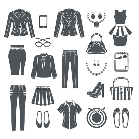 business woman: Modern woman clothes collection black icons set of dress pants blouse jeans handbag shoes and jewelry flat isolated vector illustration