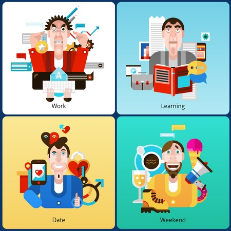 male face: Emotion design concept set with people at work learning date weekend flat icons set isolated vector illustration