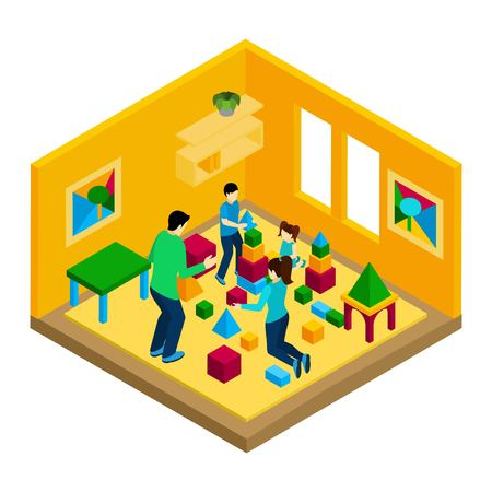 family illustration: Family playing in the room with parents and children isometric vector illustration