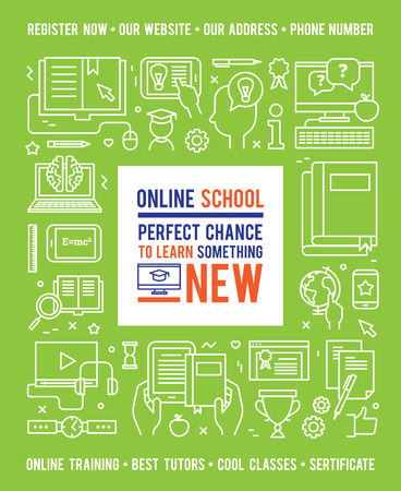 line vector: Online school education design concept with caption in center and white line icons on green background flat vector illustration
