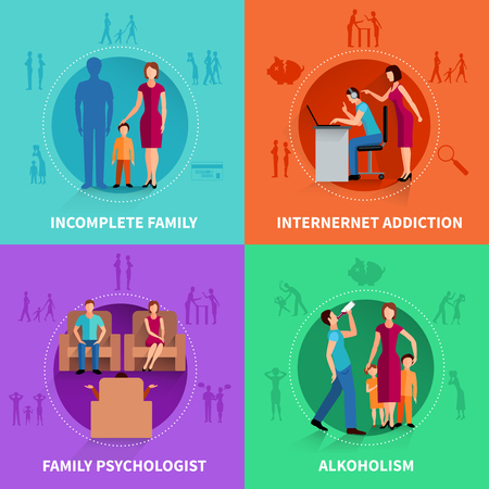 Psychological causes of family conflict flat design concept set  vector illustration