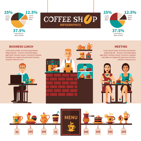 Coffee shop informatics banner with menu flat icons and visitors statistics in percentage and diagrams abstract vector illustration