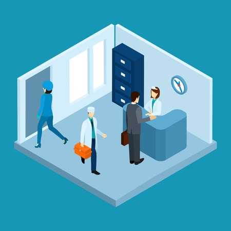 cartoon clock: Hospital reception hall with personnel and patients isometric vector illustration Illustration
