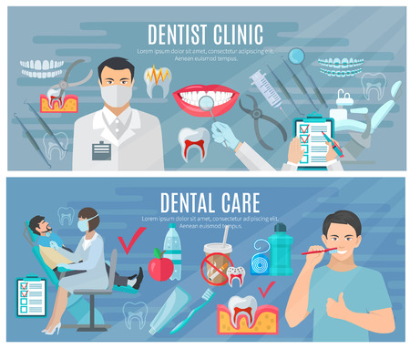 tooth cleaning: Dentist horizontal banners set with clinic and dental care symbols flat isolated vector illustration