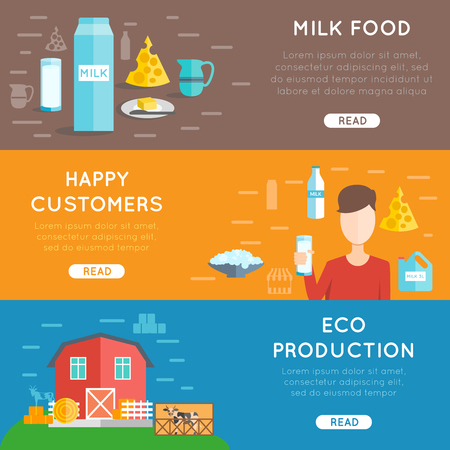milk production: Milk horizontal banner set with eco production elements flat isolated vector illustration