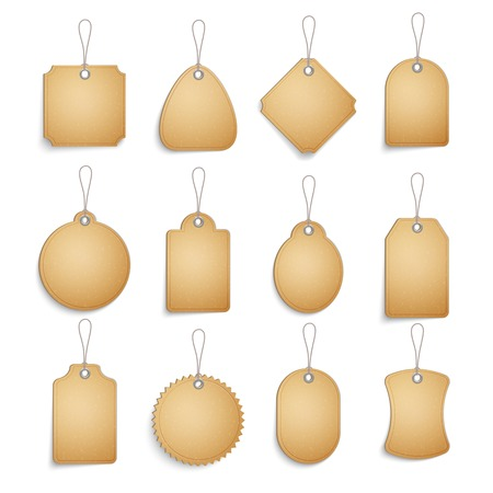label design: Cardboard blank tags set for clothes or goods realistic isolated vector illustration