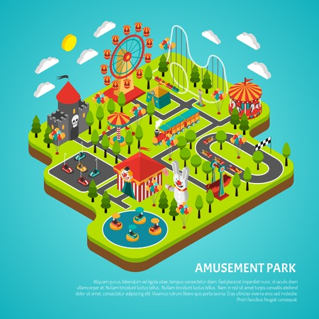 fairground: Amusement park fairground with big ferris observation wheel and bumper cars attractions isometric colorful banner vector illustration