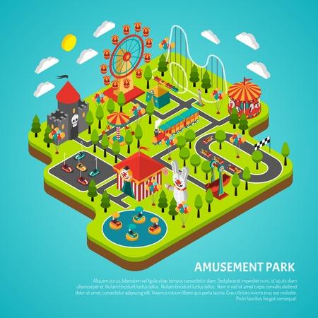 parque de atracciones de feria con gran noria de observación y coches de choque atracciones ilustración vectorial colorido de la bandera isométrica