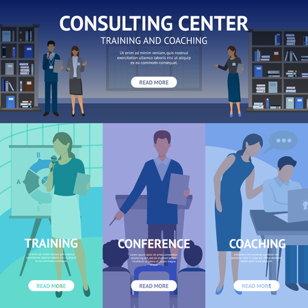 Banners set of scenes advertising consulting center work like business training conference and coaching flat vector illustration Ilustrace
