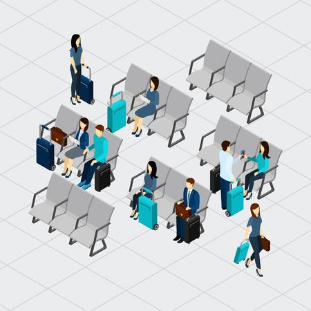 departure: People waiting for departure at the airport with luggage isometric vector illustration