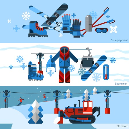 resort: Three flat horizontal skiing banners set of ski and snowboard equipment isolated vector illustration