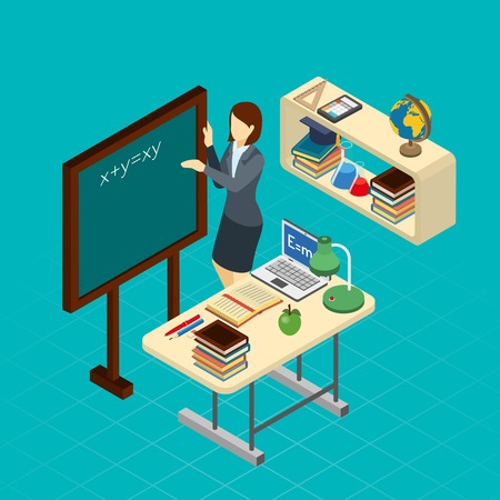 Science teacher writes formula on the blackboard in classroom isometric composition banner abstract vector illustration