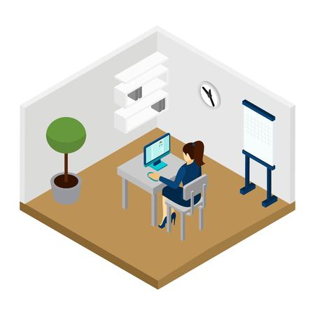 choosing: Manager recruiting people choosing applicants for interview isometric vector illustration