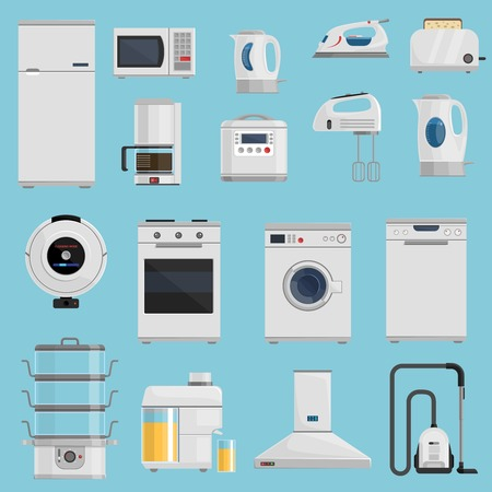 appliances icons: Household appliances icons set with microwave fridge and vacuum cleaner on blue background flat isolated vector illustration